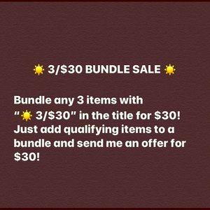 ☀️ 3/$30 Bundle Sale!!